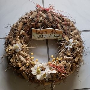 """Handcrafted Cork """"enjoy the little things"""" wreath"""